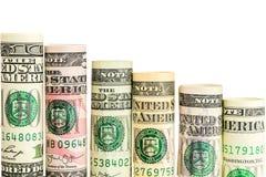 下跌的步由所有美国美元钞票制成卷  免版税图库摄影