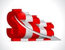 下跌的美元企业图表概念 向量例证