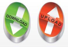 下载按钮绿色和红色 免版税库存照片