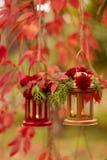 下降时间 秋天栗子装饰葡萄10月石榴木头 以lanter的形式烛台 库存图片