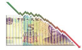 下降的金钱图表 图库摄影