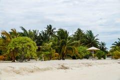 下雨在海滩,马尔代夫, Ari环礁 库存照片
