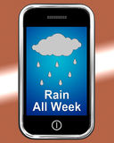 下雨在电话展示湿凄惨的天气的所有星期 免版税库存图片