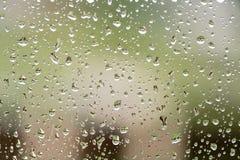 下雨在窗口与大厦和绿色树的下落在背景 免版税图库摄影