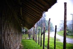 下雨在竹小屋 免版税库存照片