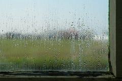 下雨在老荷兰温室山墙的窗口 免版税库存图片
