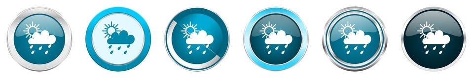 下雨在6个选择的银色金属镀铬物边界象,被设置在白色背景隔绝的网蓝色圆的按钮 皇族释放例证
