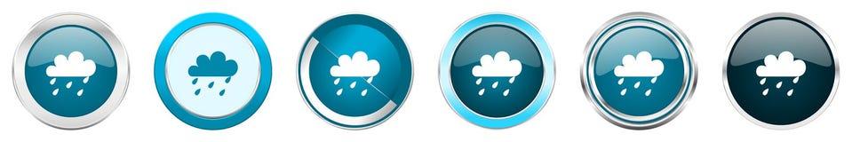 下雨在6个选择的银色金属镀铬物边界象,被设置在白色背景隔绝的网蓝色圆的按钮 向量例证