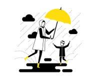 下雨天-平的设计样式传染媒介例证 皇族释放例证