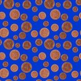 下雨幸运的芬尼硬币 免版税图库摄影