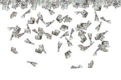 下雨美元的钞票飞行和 库存图片
