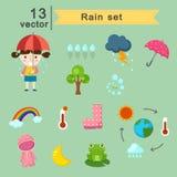 下雨集合 免版税库存照片