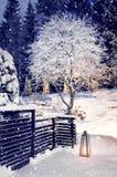 下雪在冬天晚上庭院里 库存图片