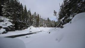下雪在冬天的冰川国家公园 股票录像