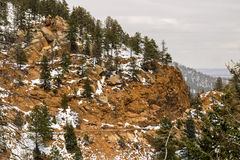 下雪在夏延山科罗拉多泉 免版税图库摄影