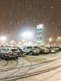 下雪在晚上 免版税库存图片