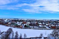 下雪在梁赞,俄罗斯 在2017年11月 库存照片