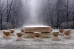 下雪在沈默- Constantin Brancus杰作表上  库存图片