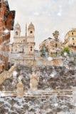 下雪在西班牙的广场的台阶的步 免版税库存图片
