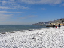下雪在黑海海岸索契,俄罗斯 图库摄影