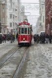 下雪在Istiklal 免版税图库摄影