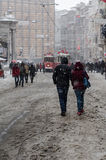 下雪在Istiklal III 库存照片