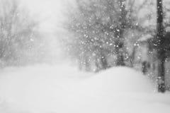 下雪很多在车道 库存图片