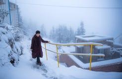 下雪的俏丽的妇女 库存图片