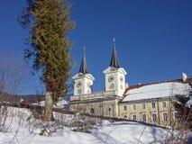 下雪的修道院泰根塞在冬天 免版税库存图片