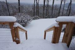 下雪的台阶 库存照片