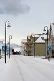 下雪的挪威街道 库存照片