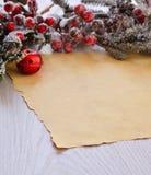 下雪的毛皮树分支用在包装纸上的莓果 库存照片