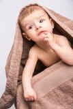 下婴孩毛巾 库存图片
