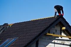 下建筑屋顶 免版税库存照片