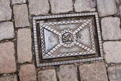 下水道出入孔在斯德哥尔摩 库存图片