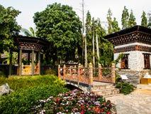 不丹传统建筑学 免版税库存照片