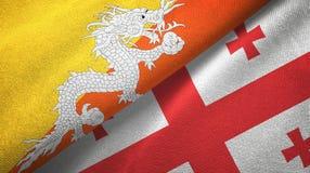 不丹和乔治亚两旗子纺织品布料,织品纹理 向量例证