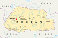 不丹政治地图 库存图片