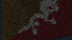 不丹的挥动的旗子做了文本标志在屏幕 概念性loopable动画 皇族释放例证