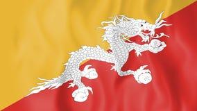 不丹的生气蓬勃的旗子 库存例证