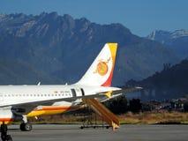 不丹航空公司飞行准备好为离开 免版税库存照片