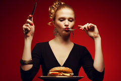 不健康吃 背景汉堡干酪鸡概念黄瓜深鱼食物油煎了旧货莴苣木三明治的蕃茄 吃夫人画象  库存照片
