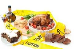 不健康圣诞节的食物 免版税库存图片