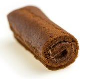 不健康的巧克力卷特写镜头  免版税库存照片