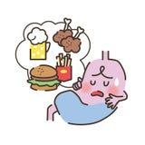 不健康的胃 库存例证