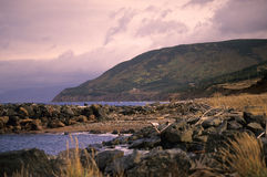 不列塔尼的海角高地日落 库存照片
