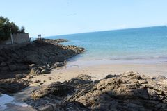 不列塔尼美丽的海滩 免版税库存图片