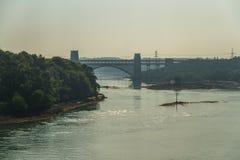 不列颠尼亚桥梁、连接的Snowdonia和Anglesey在夏天Ha 库存照片