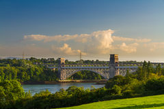 不列颠尼亚桥梁、连接的Snowdonia和Anglesey 免版税图库摄影
