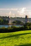 不列颠尼亚桥梁、连接的Snowdonia和Anglesey 库存图片